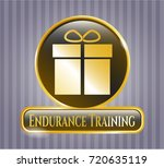 gold shiny emblem with gift...   Shutterstock .eps vector #720635119