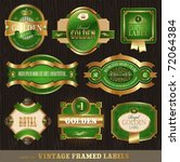 vector vintage golden green... | Shutterstock .eps vector #72064384