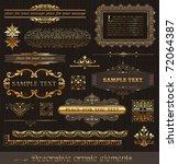 vector set of golden ornate... | Shutterstock .eps vector #72064387