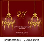 wedding card with antique lamp   Shutterstock .eps vector #720661045