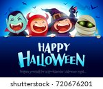 happy halloween party. group of ... | Shutterstock .eps vector #720676201