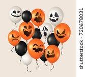 halloween balloons. pumpkin... | Shutterstock .eps vector #720678031