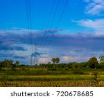 electricity post or line and... | Shutterstock . vector #720678685