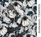 koi fish and hibiscus flower... | Shutterstock .eps vector #720693331