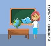 teacher woman and creative... | Shutterstock .eps vector #720703531