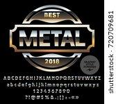 set of golden alphabet letters  ... | Shutterstock .eps vector #720709681