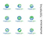 set globe world logo vector ... | Shutterstock .eps vector #720709741