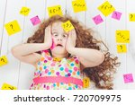 crying child with question... | Shutterstock . vector #720709975