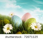 three decorated easter eggs in... | Shutterstock . vector #72071125