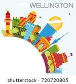 wellington skyline with color... | Shutterstock . vector #720720805