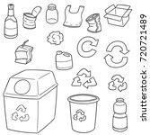 vector set of recycle garbage   Shutterstock .eps vector #720721489