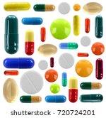 set of different pills on white ... | Shutterstock . vector #720724201