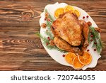 roasted turkey with orange and...   Shutterstock . vector #720744055