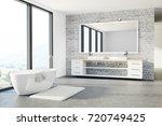 loft bathroom interior with...   Shutterstock . vector #720749425