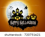 halloween background with... | Shutterstock .eps vector #720751621