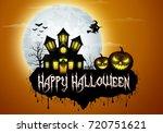 halloween background with... | Shutterstock .eps vector #720751621