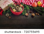christmas decoration   red bowl ... | Shutterstock . vector #720755695