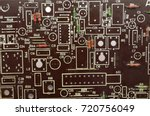 old circuit board with... | Shutterstock . vector #720756049