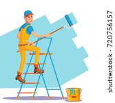 wall painter vector. worker at... | Shutterstock .eps vector #720756157