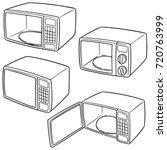 vector set of microwave oven | Shutterstock .eps vector #720763999