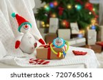 Snowman Toy And Gift Box On...