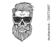 bearded skull illustration | Shutterstock .eps vector #720771007