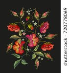 embroidery roses flowers t... | Shutterstock .eps vector #720778069