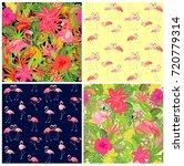 seamless tropical summery... | Shutterstock .eps vector #720779314