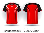 soccer jersey template.red and... | Shutterstock .eps vector #720779854
