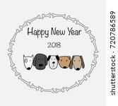 happy new year 2018 with bone... | Shutterstock .eps vector #720786589