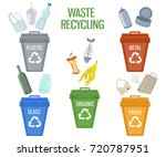 trash bins of different colors... | Shutterstock .eps vector #720787951
