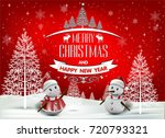 christmas greeting card. merry... | Shutterstock .eps vector #720793321