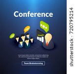 conference poster of isometric...   Shutterstock .eps vector #720795214