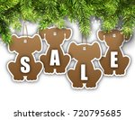 wallpaper with fir branches and ... | Shutterstock .eps vector #720795685