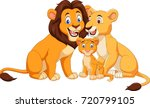 Cartoon Lion Family Isolated O...