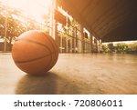 basketball court with ball   Shutterstock . vector #720806011