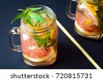 grapefruit smoothie with... | Shutterstock . vector #720815731