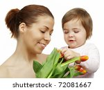 Mother And Daughter With Tulip...