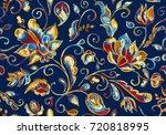 grunge seamless hand painted... | Shutterstock . vector #720818995