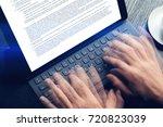 closeup view of male hands... | Shutterstock . vector #720823039