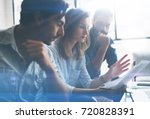 three partners making research... | Shutterstock . vector #720828391