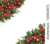 christmas festive background... | Shutterstock . vector #720833071