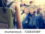 girl with backpack attend... | Shutterstock . vector #720835489
