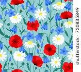 floral summer seamless pattern... | Shutterstock .eps vector #720835849
