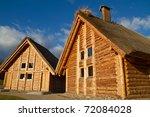 Old style cottage houses in Pruszcz Gdanski - Poland - stock photo