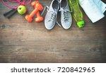fitness equipment  healthy food ... | Shutterstock . vector #720842965