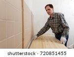 construction worker installing...   Shutterstock . vector #720851455