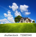family house on a green hill | Shutterstock . vector #72085540