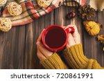 fall setting woman hands...   Shutterstock . vector #720861991