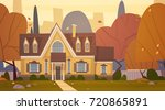 house building suburb of big... | Shutterstock .eps vector #720865891